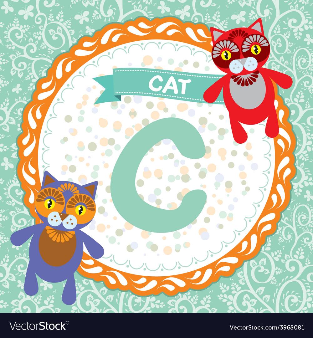 ABC animals C is cat Childrens english alphabet