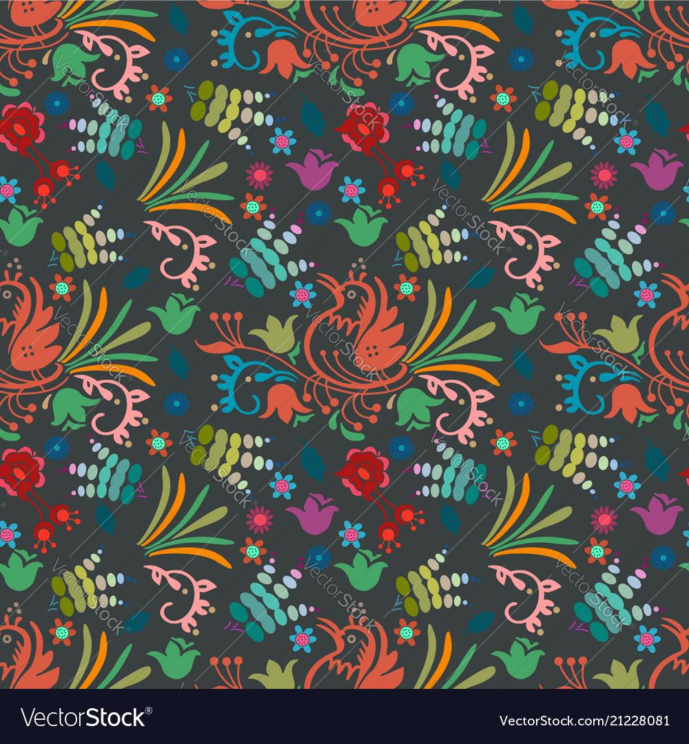 Beautiful bird floral pattern background hand