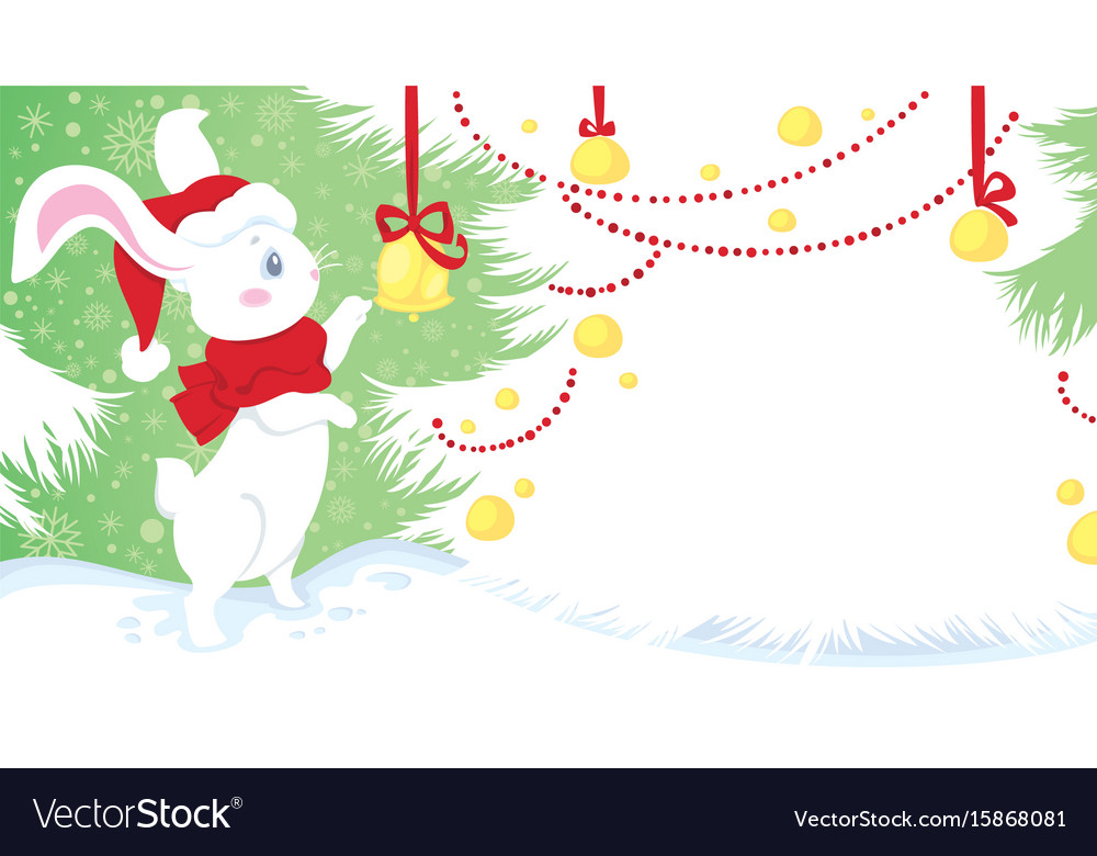 Christmas - cute white rabbit on snow