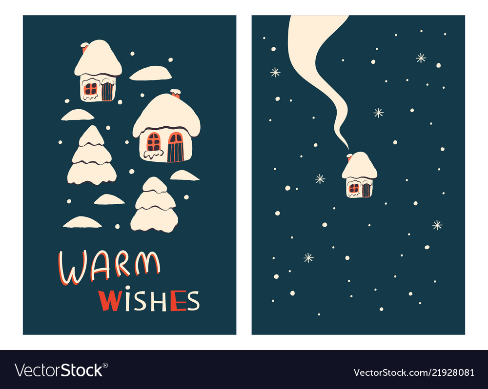 Christmas Greeting Cards With Houses Royalty Free Vector