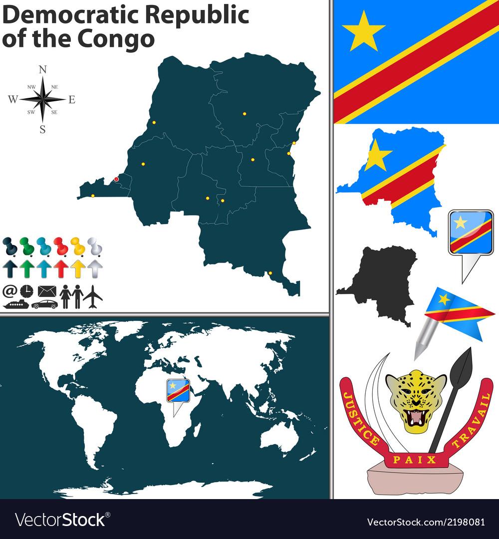 Democratic World Map.Democratic Republic Of The Congo Map Royalty Free Vector