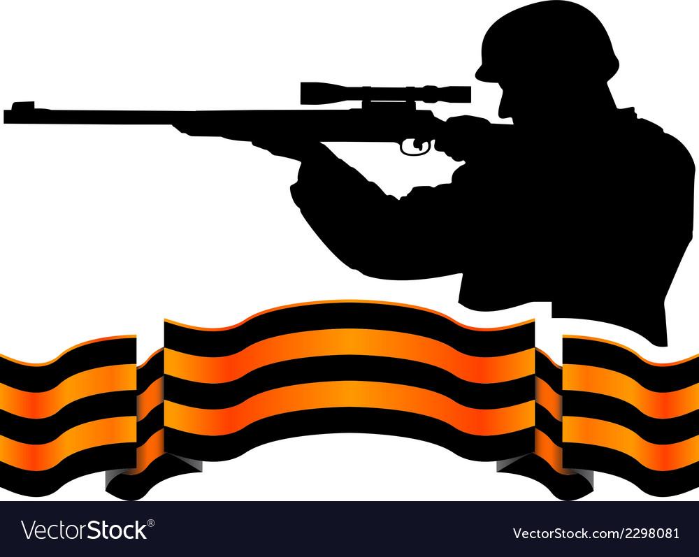 Georgievsky ribbon and sniper vector image