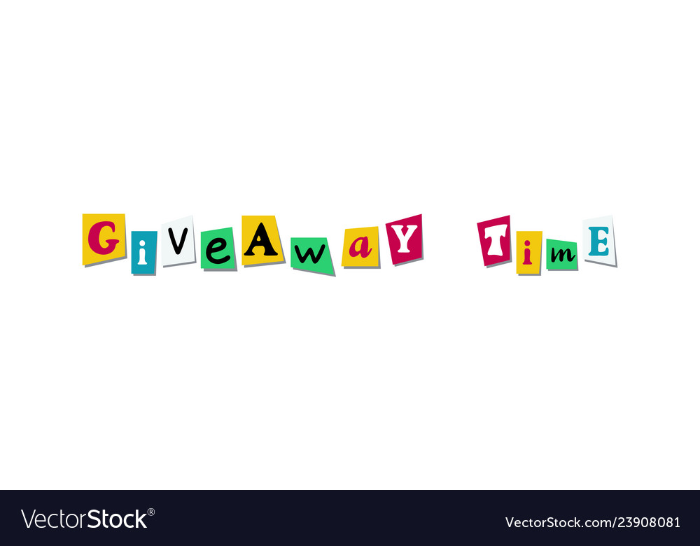 Giveaway time banner card with cutout colours