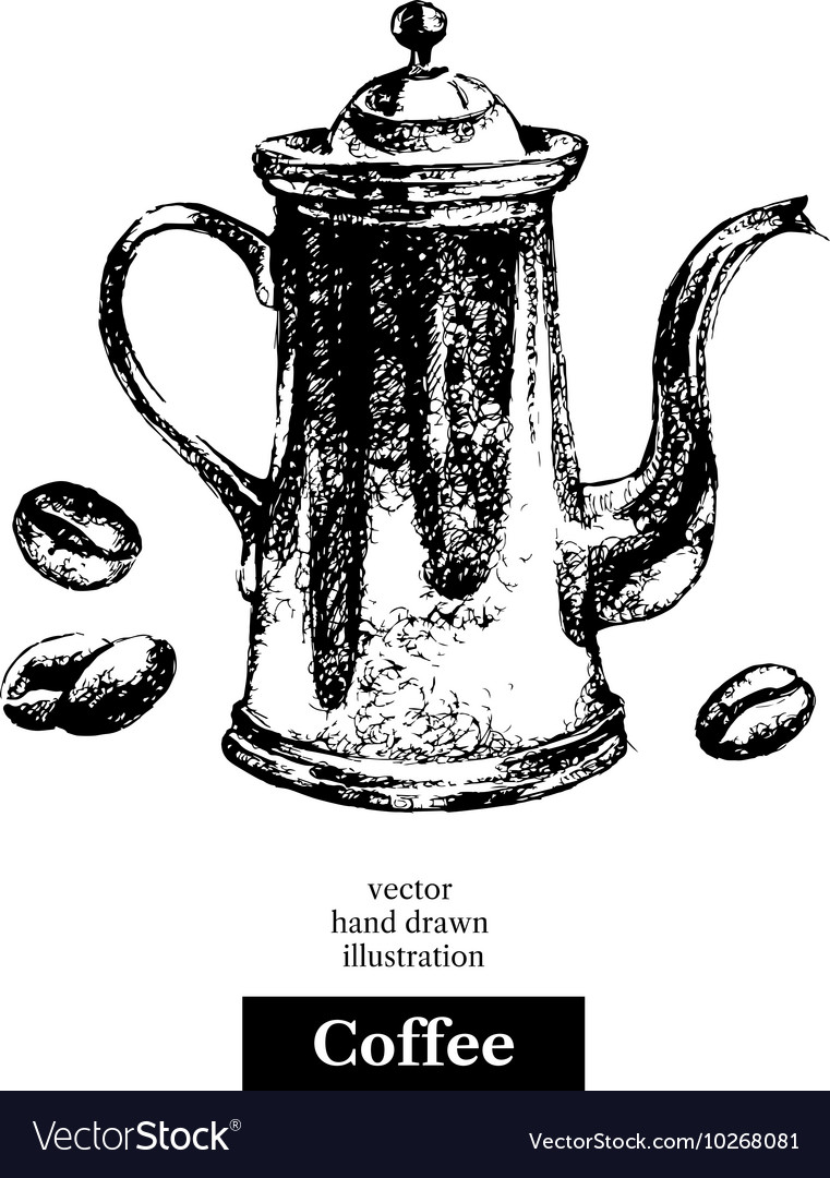 Hand drawn sketch black and white vintage coffee