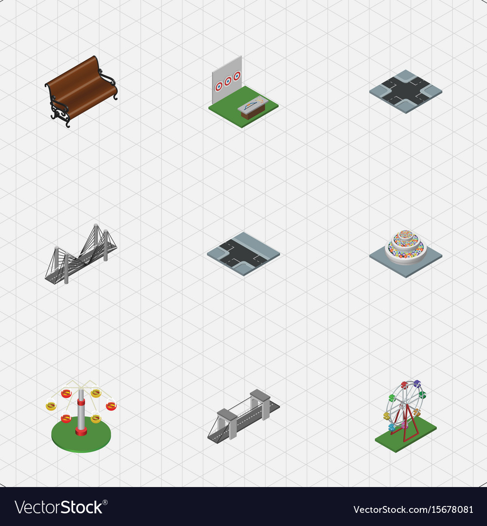 Isometric urban set of aiming game plants