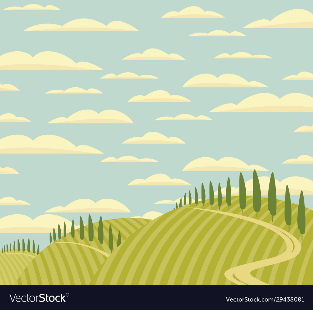 Landscape with green hills road and clouds