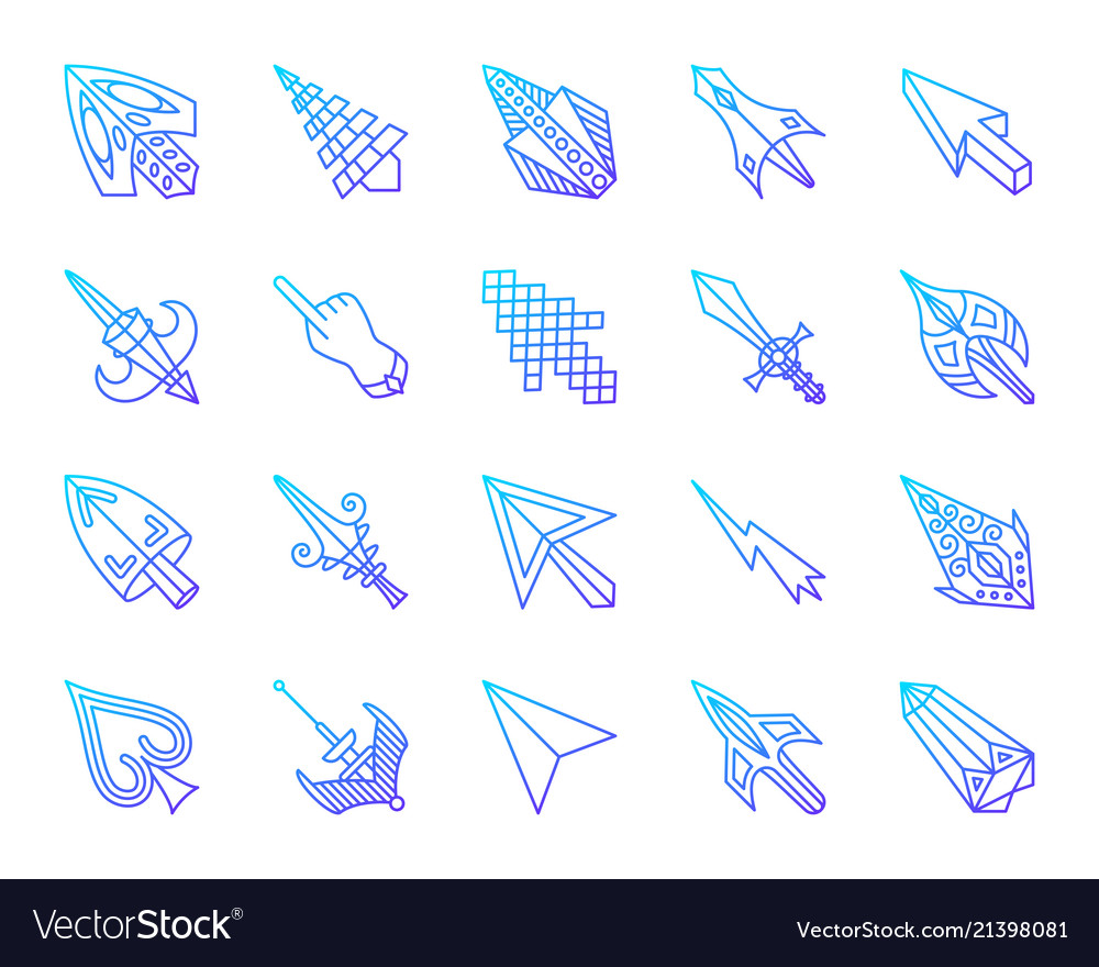 Mouse cursor simple color line icons set Vector Image