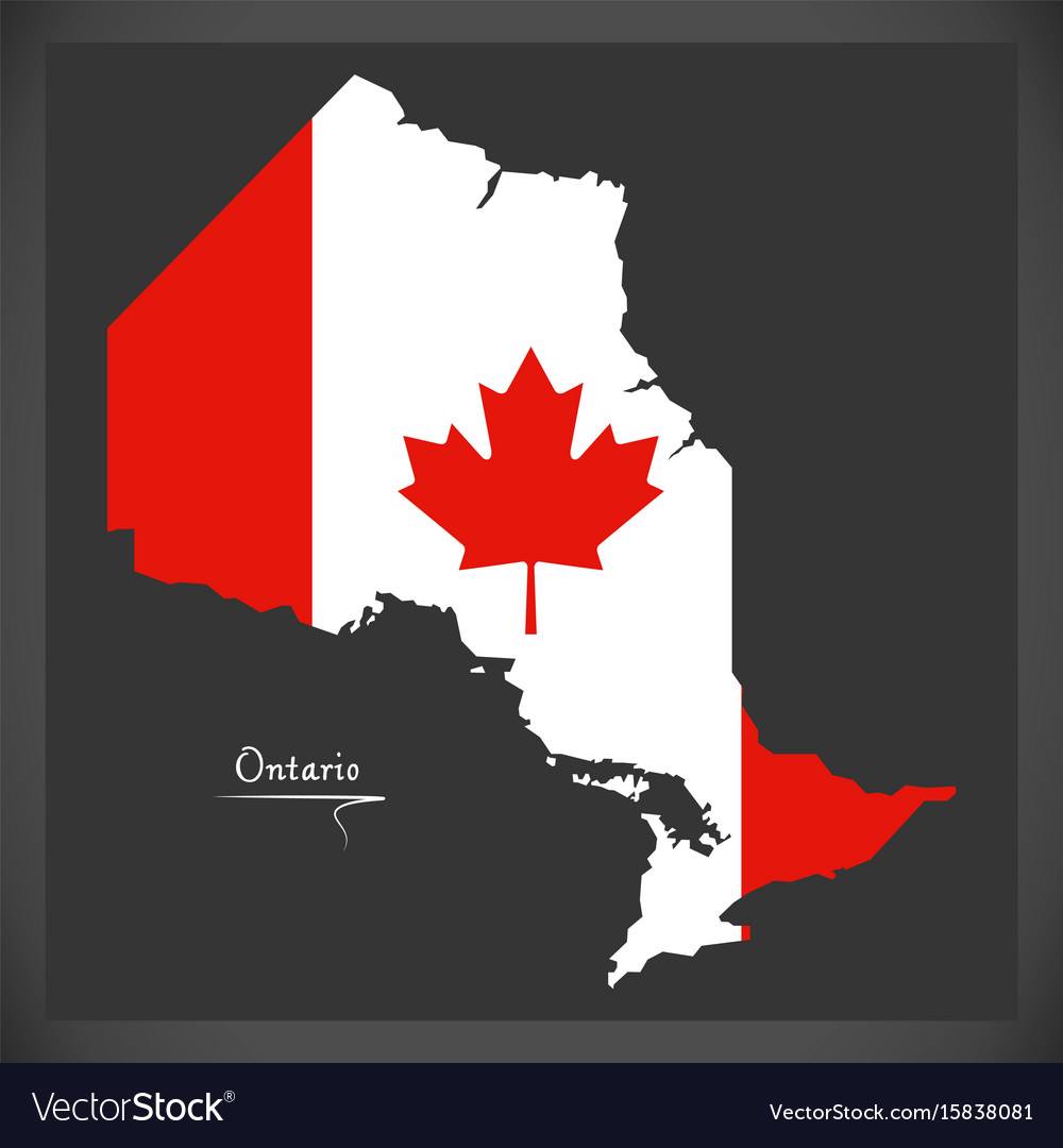 Ontario canada map with canadian national flag Vector Image on