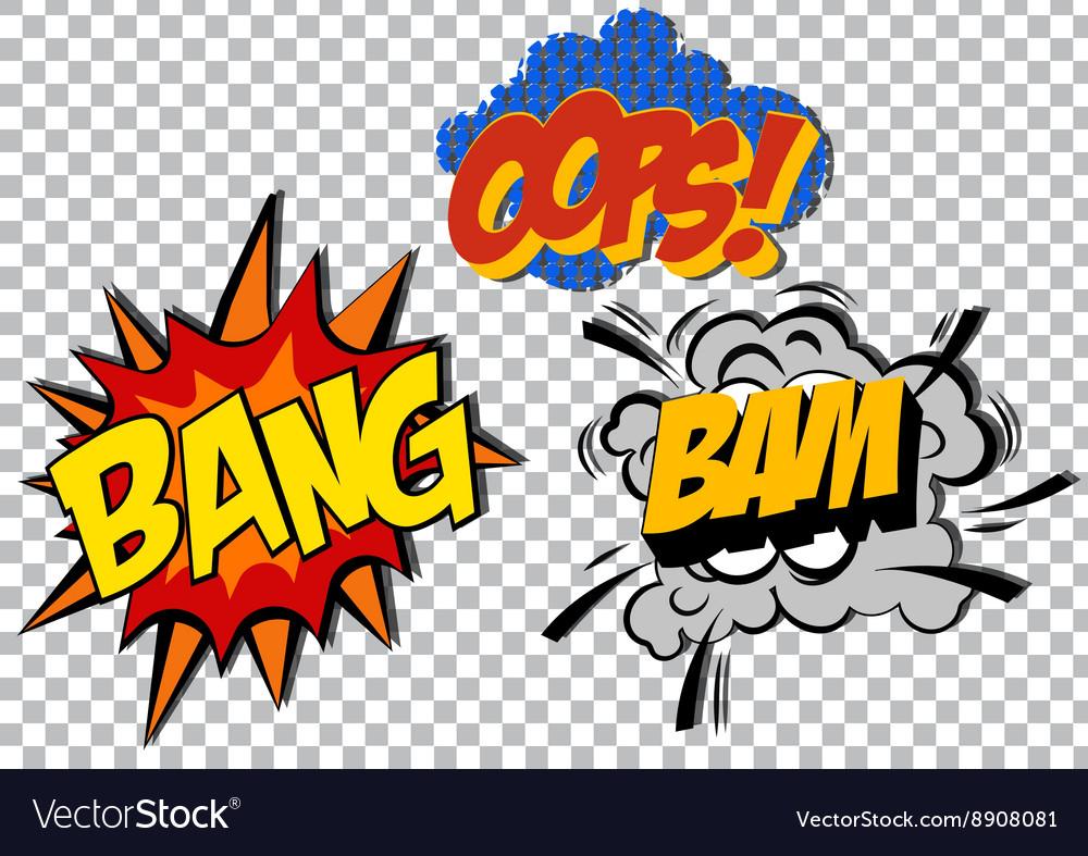 Retro cartoon explosion pop art comic set