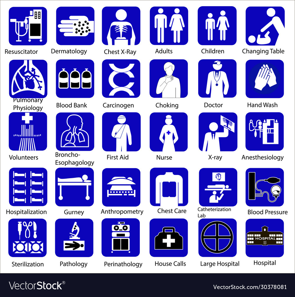 Set medical flat icon symbols in blue on a
