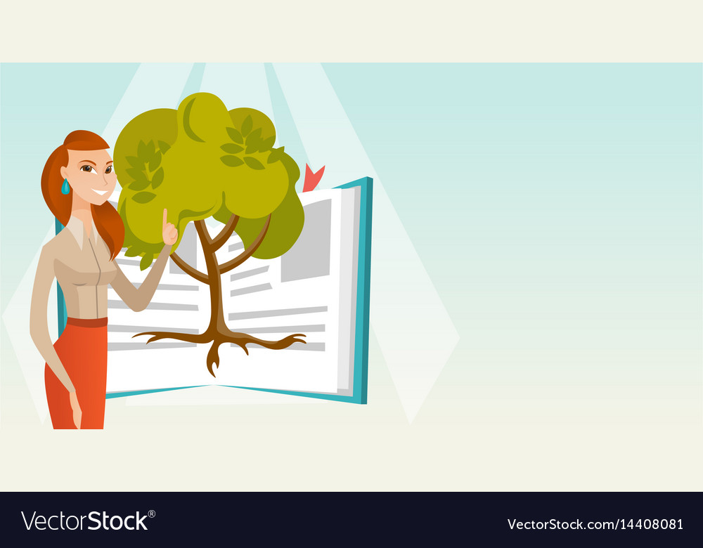 Student pointing at tree of knowledge