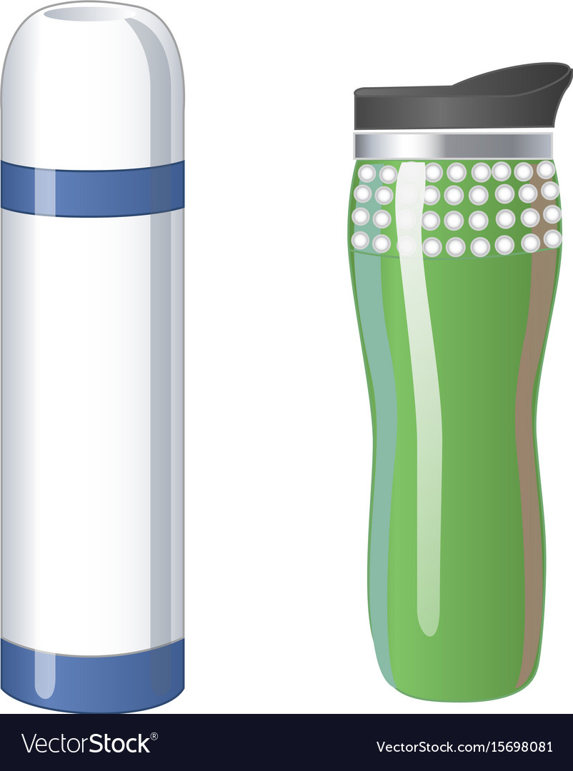 Thermos flask icons tumbler thermo cup isolated