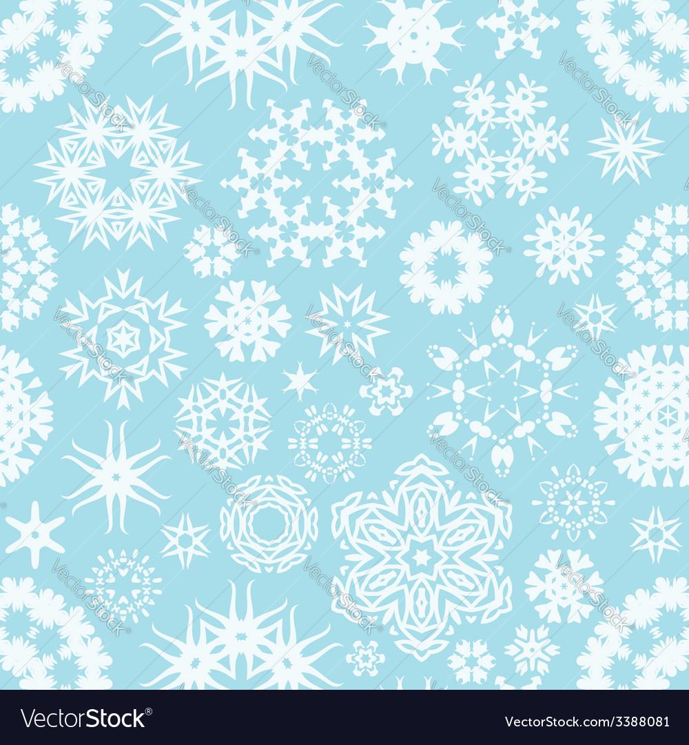 Winter seamless snowflake background