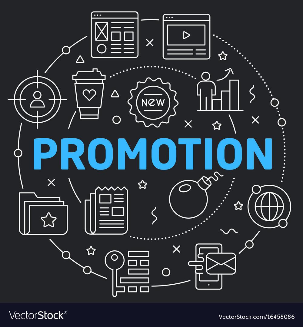 Black line flat circle promotion vector image