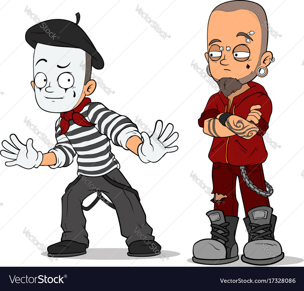 Cartoon french mime and punk characters set