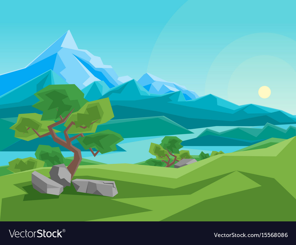 Cartoon summer mountain and river on a landscape