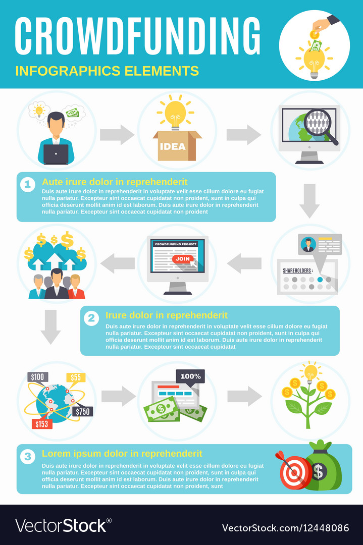 Crowdfunding Infographics With Symbols From Vector Image