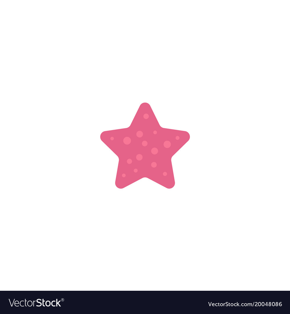 Flat cartoon pink colored starfish star fish