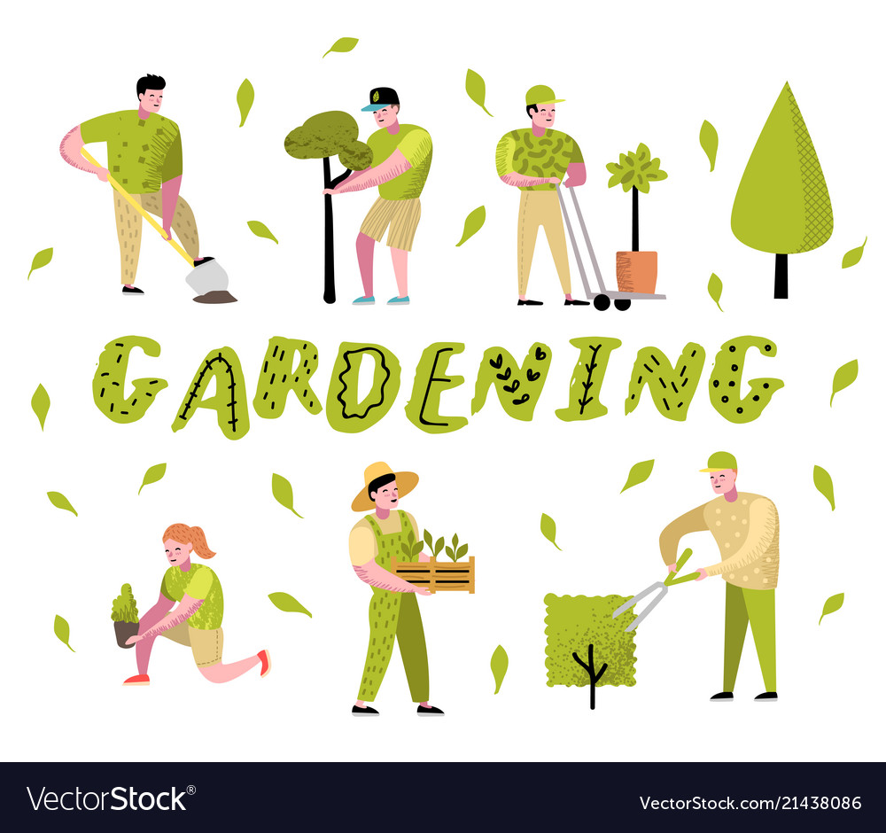 Gardening Cartoons Characters With Plants And Tree