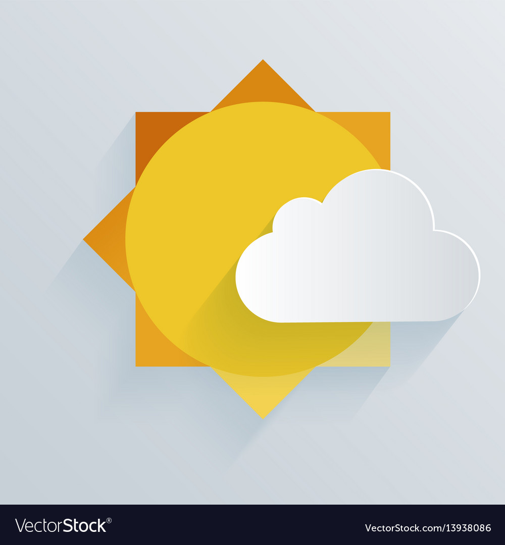 Paper sun and cloud background vector image