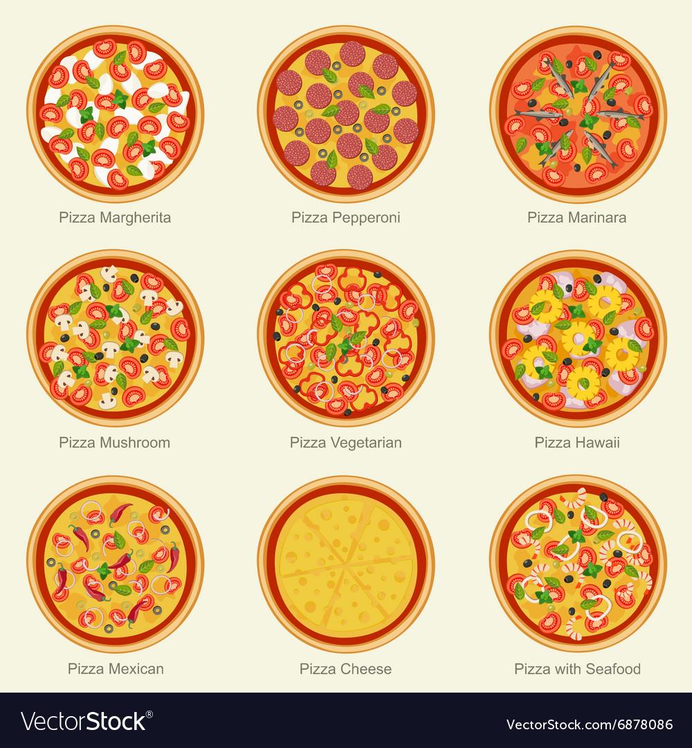 Pizza set icons