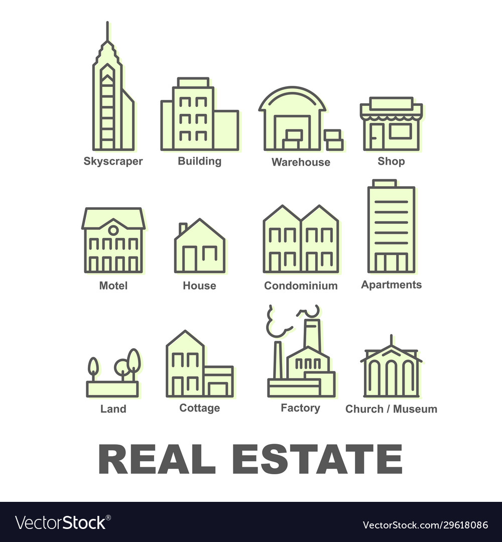 Real estate icons property and investment