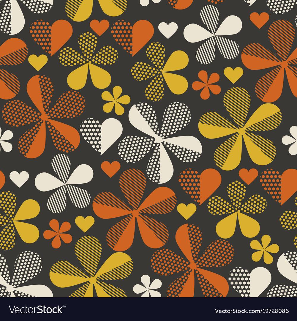 Retro Orange And Yellow Color 60s Flower Motif Vector Image