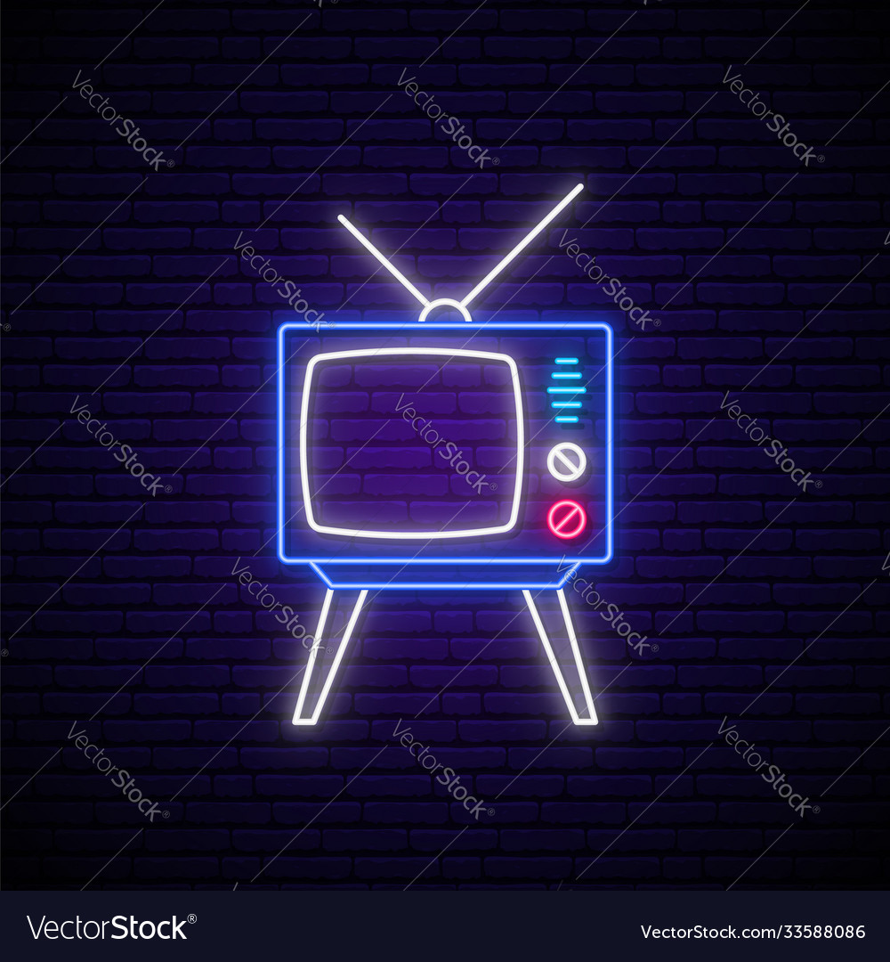 Retro tv neon sign glowing neon tv show emblem