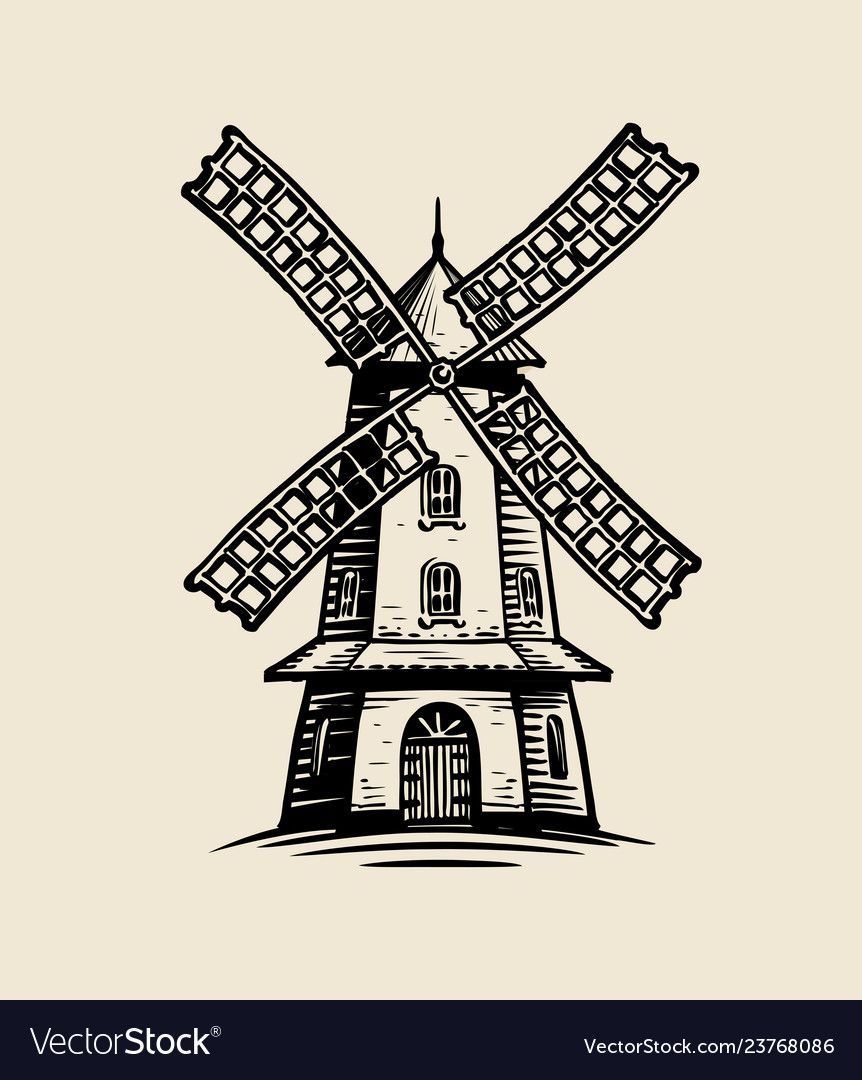Windmill logo or label agriculture farm bakery