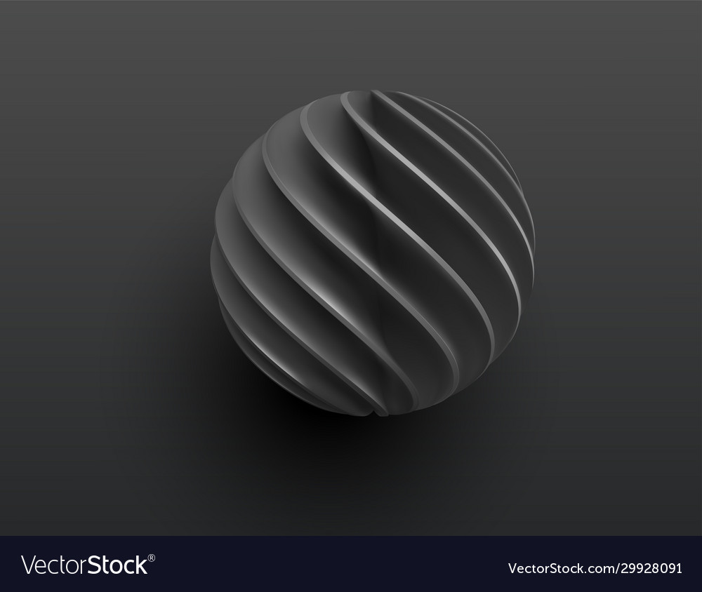 Black paper cut 3d realistic layered sphere