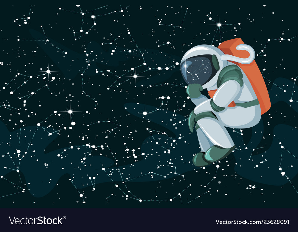Cartoon astronaut thinking or searching solution