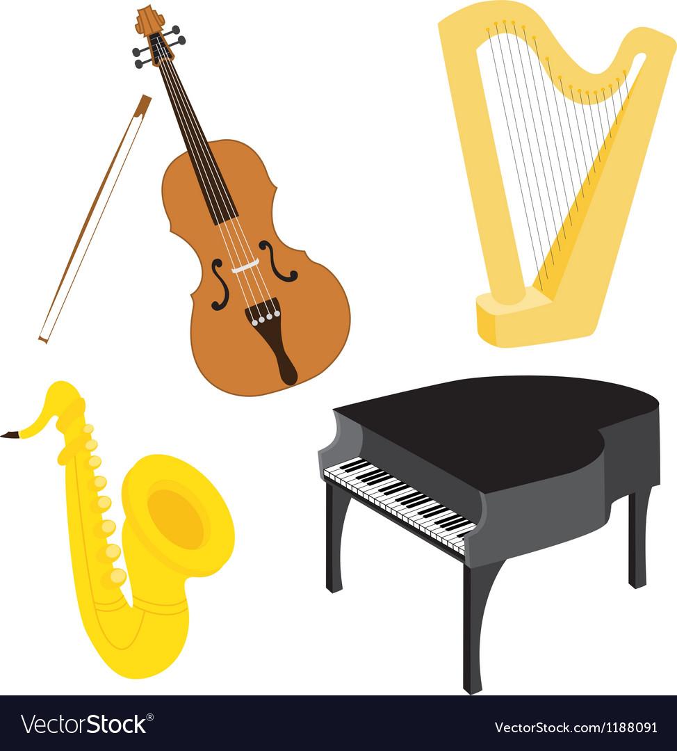 Cartoon music instruments set vector image