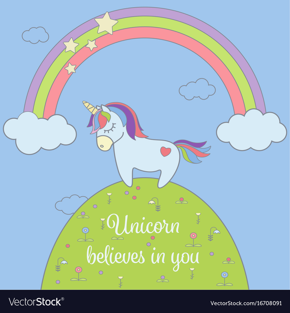 Cute unicorn and rainbow with stars and clouds