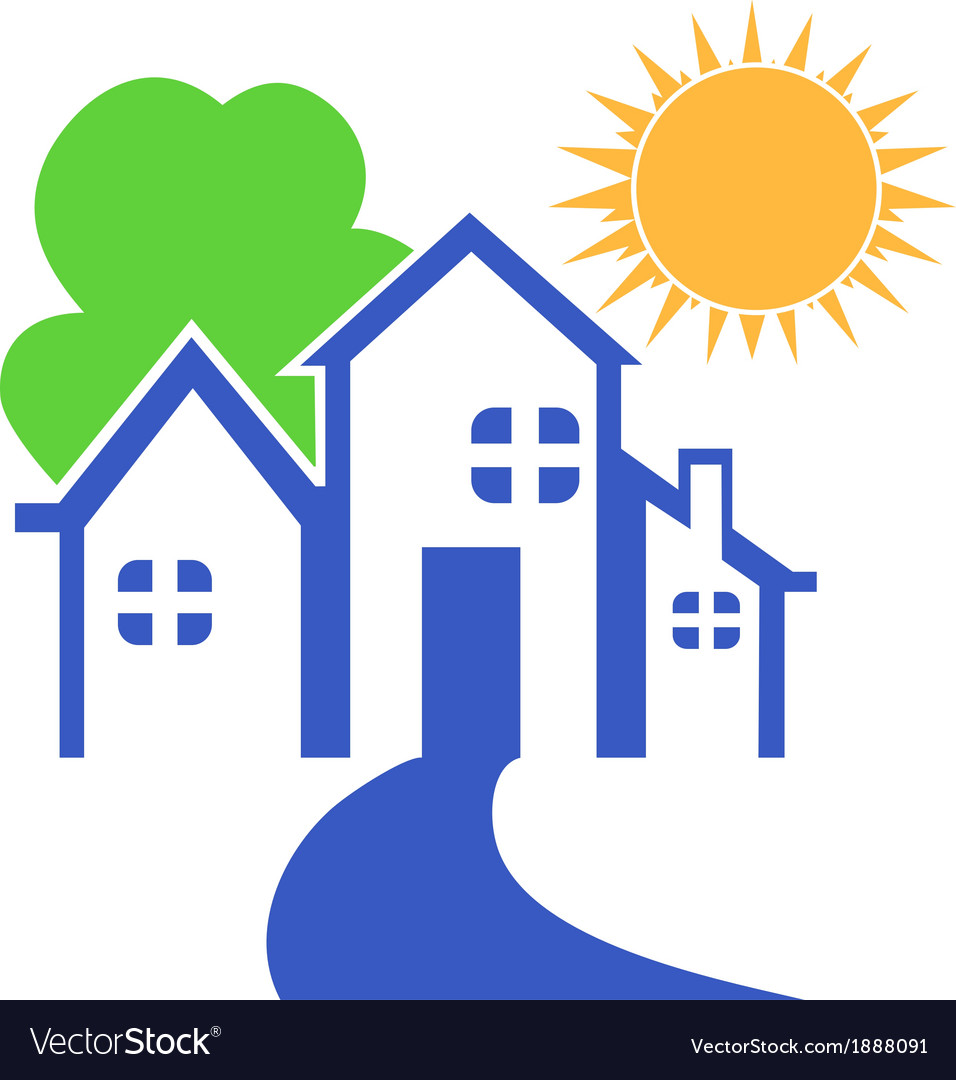 House with tree and sun logo vector image