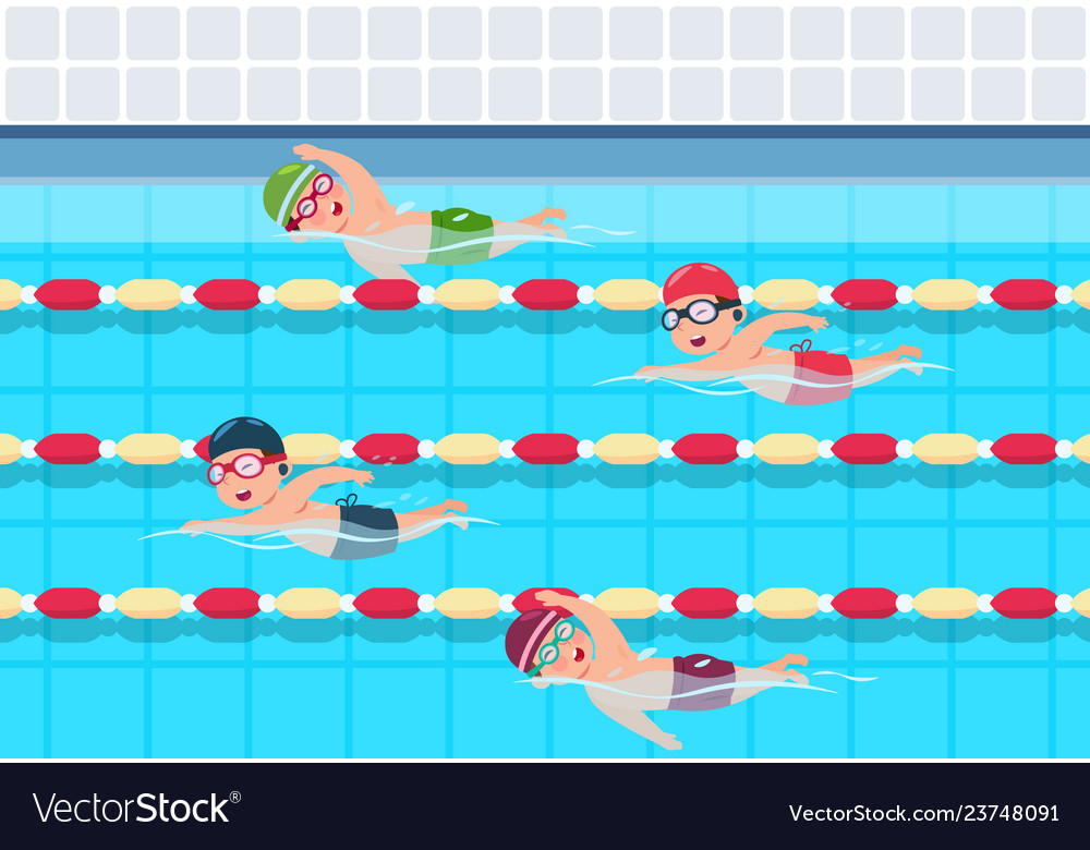 Kids Swim Childrens Swimming Competition In Pool Vector Image