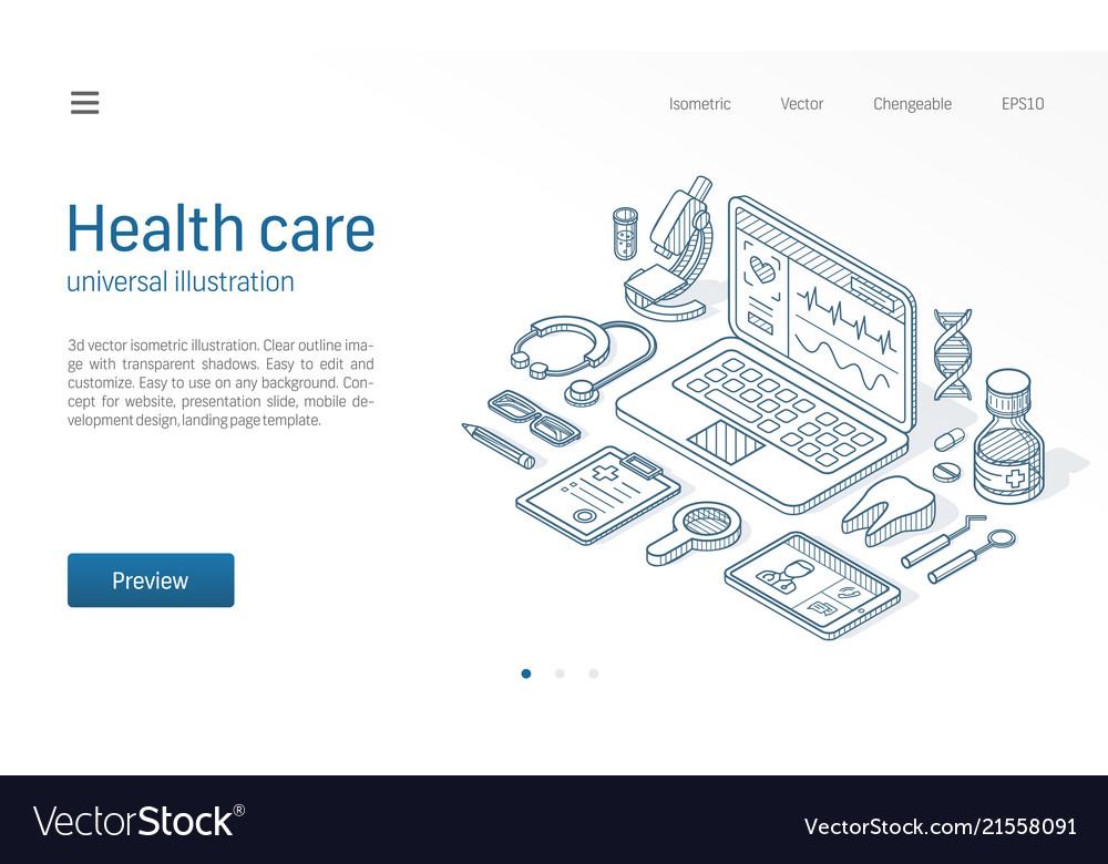 Medicine healthcare modern isometric line