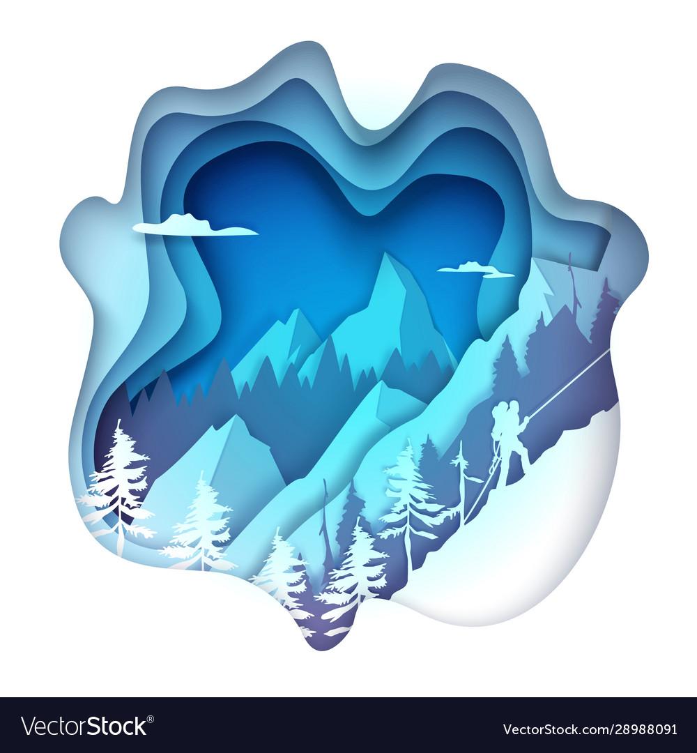 Mountaineering in paper art