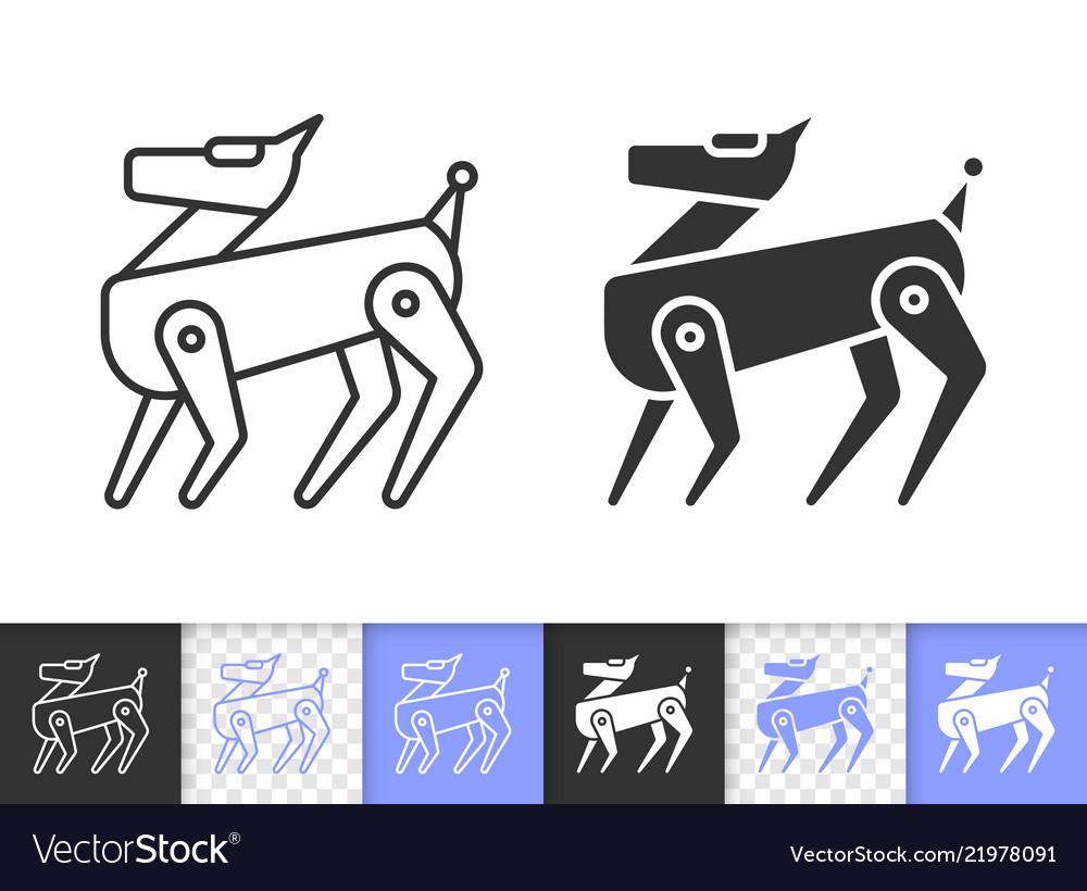 Robot dog simple black line icon