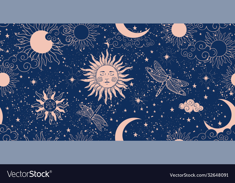 Seamless blue space pattern with sun crescent and