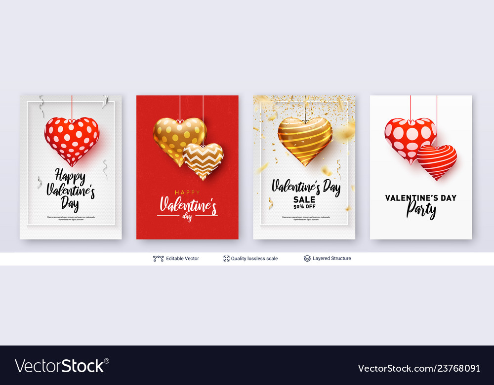 Set of valentines day backgrounds with text