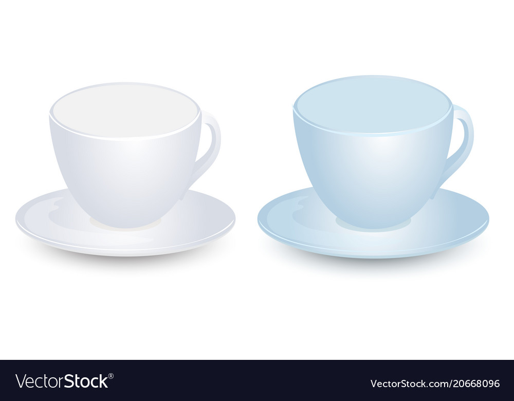 Blue and white cup mockups on plate