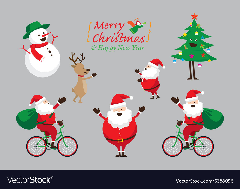 Christmas Characters Set vector image