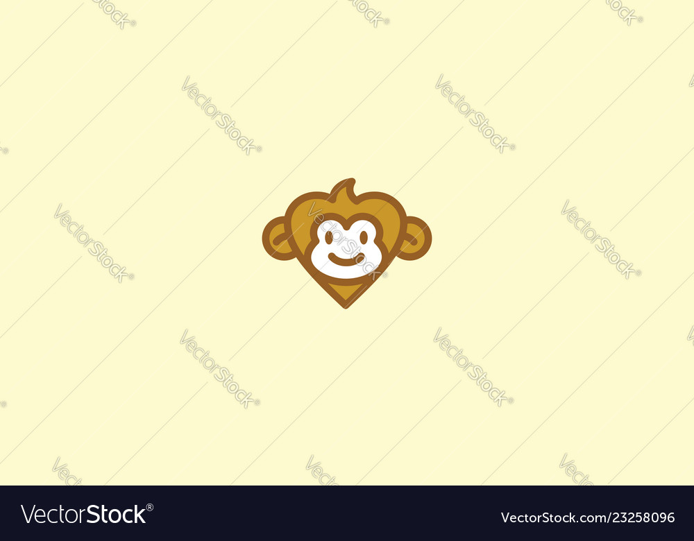 Cute monkey love logo icon