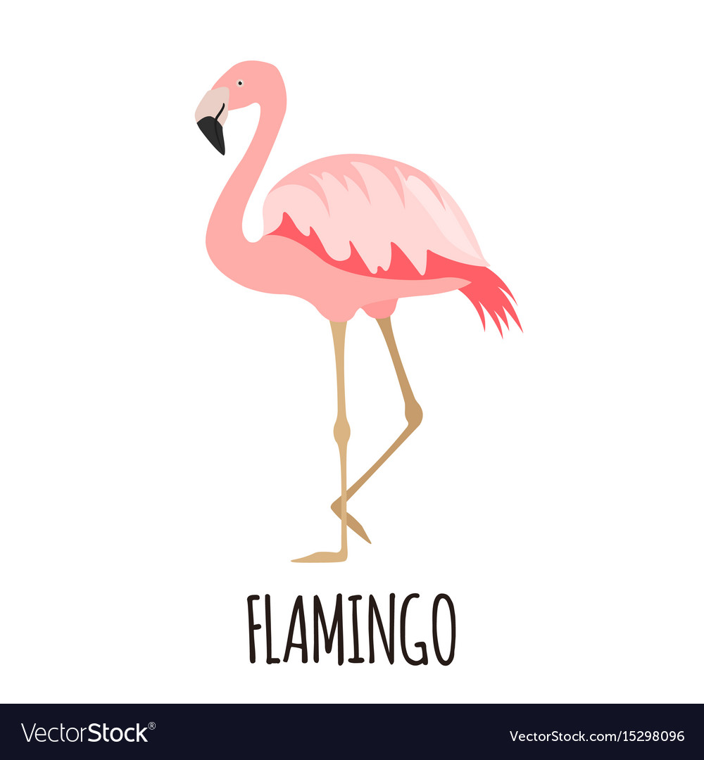 Cute pink flamingo in flat style