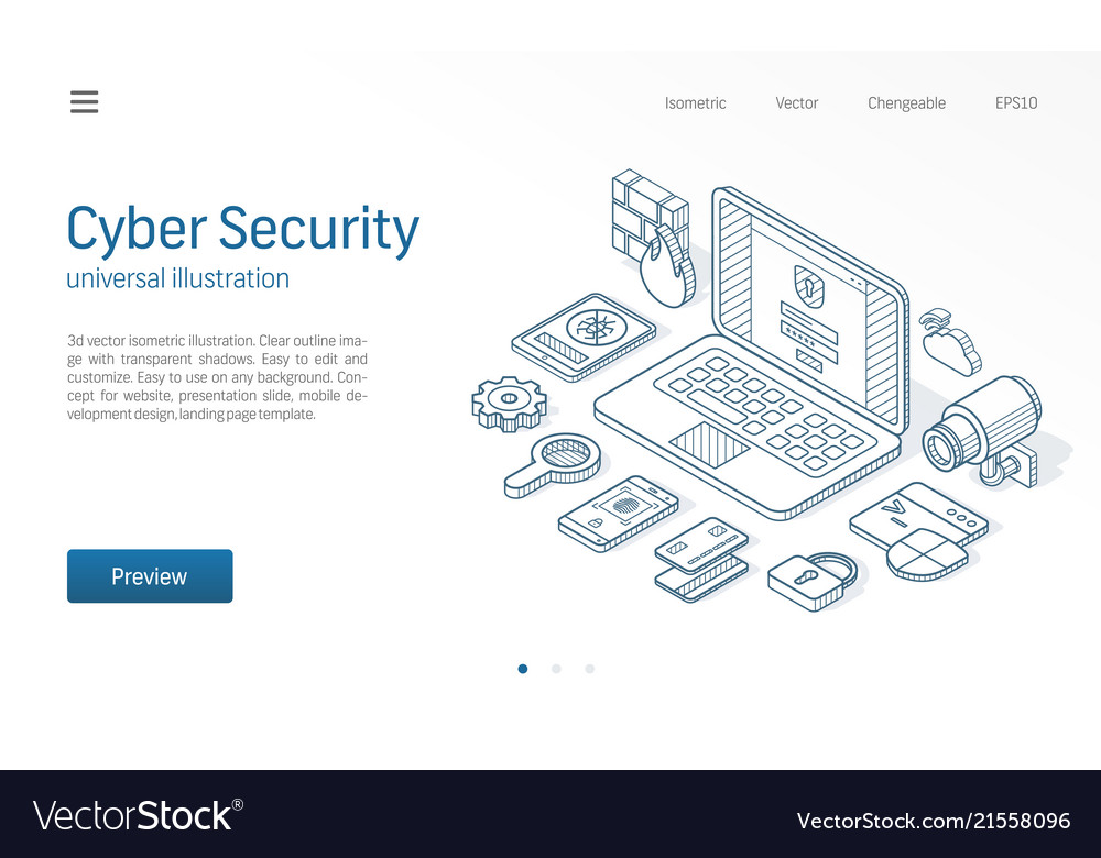 Cyber security modern isometric line