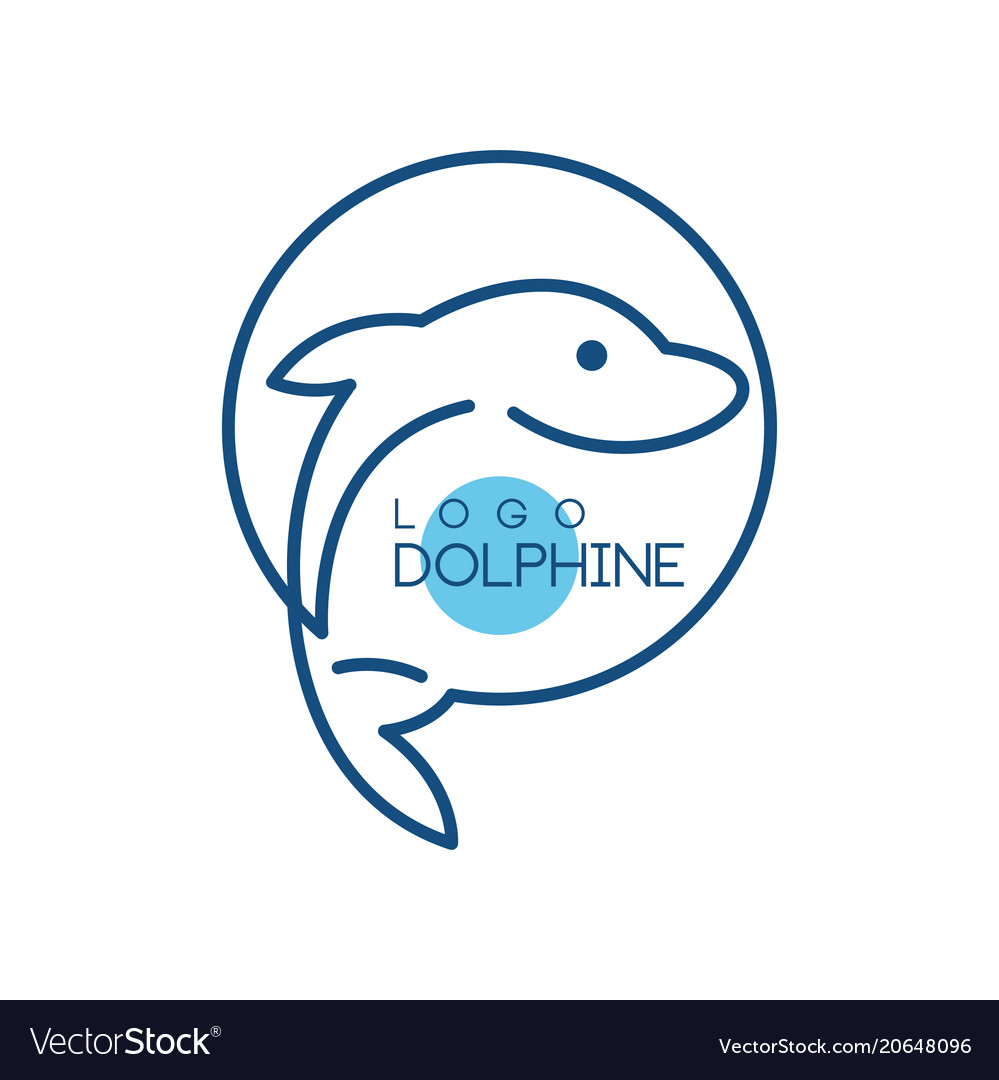 Dolphine logo nautical design element in blue vector