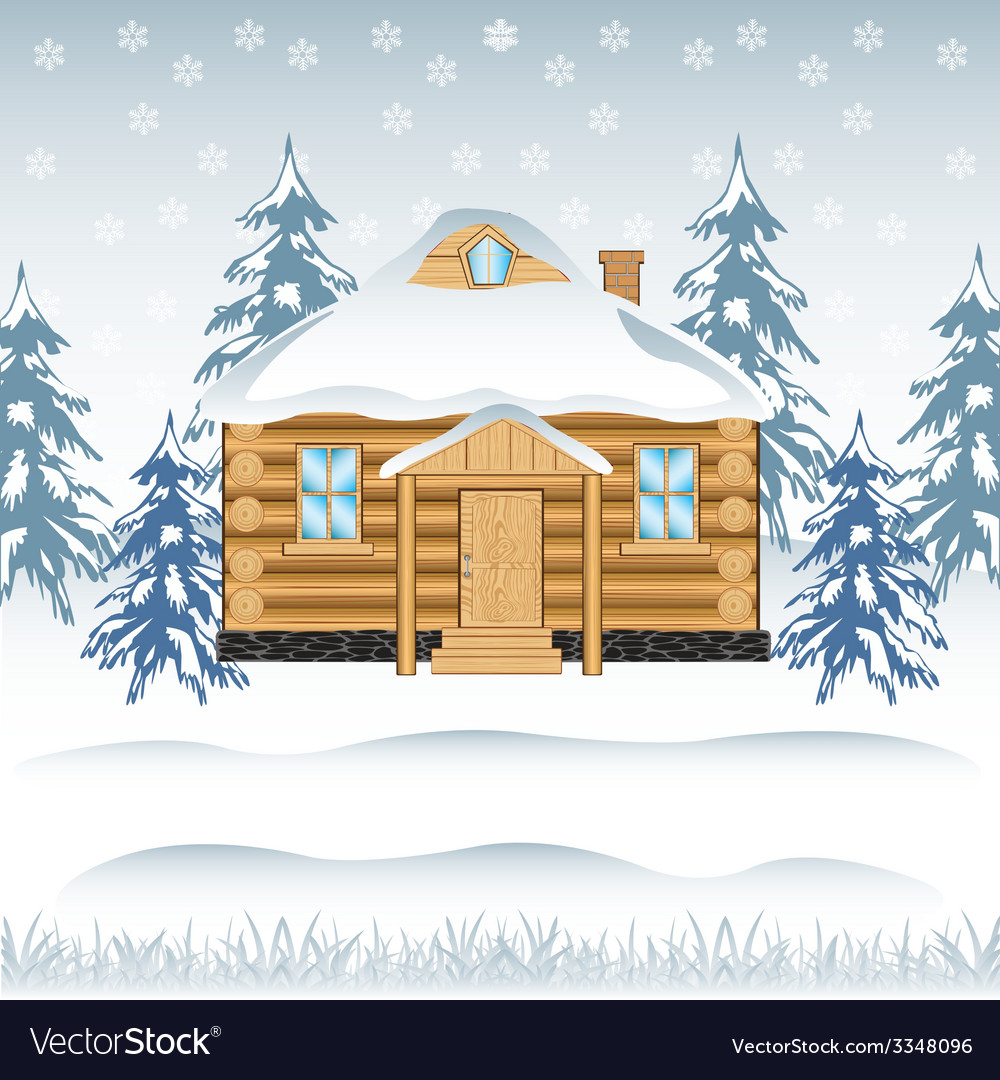 House in wood vector image