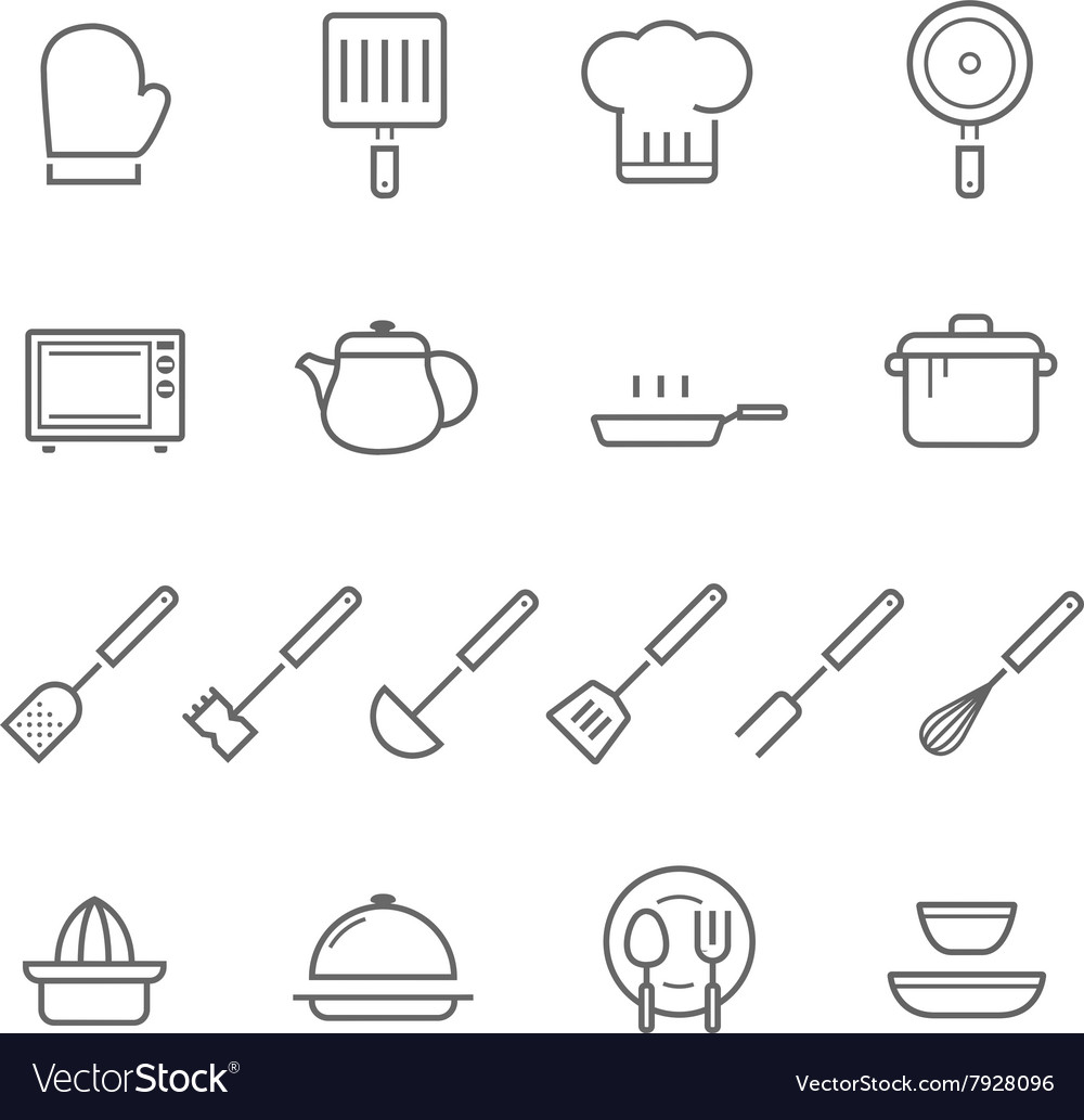 Lines icon set - kitchenware