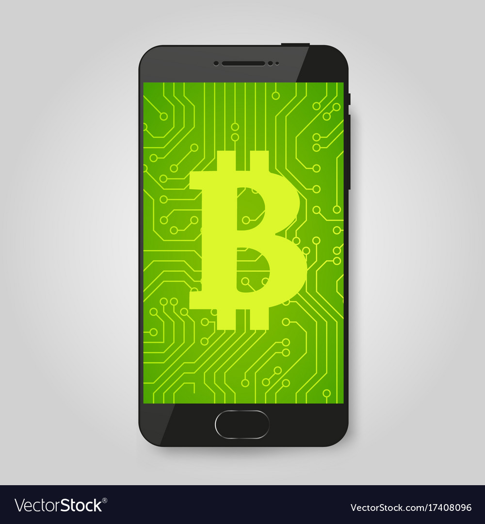 Mobile phone with bitcoin sign crypto payment