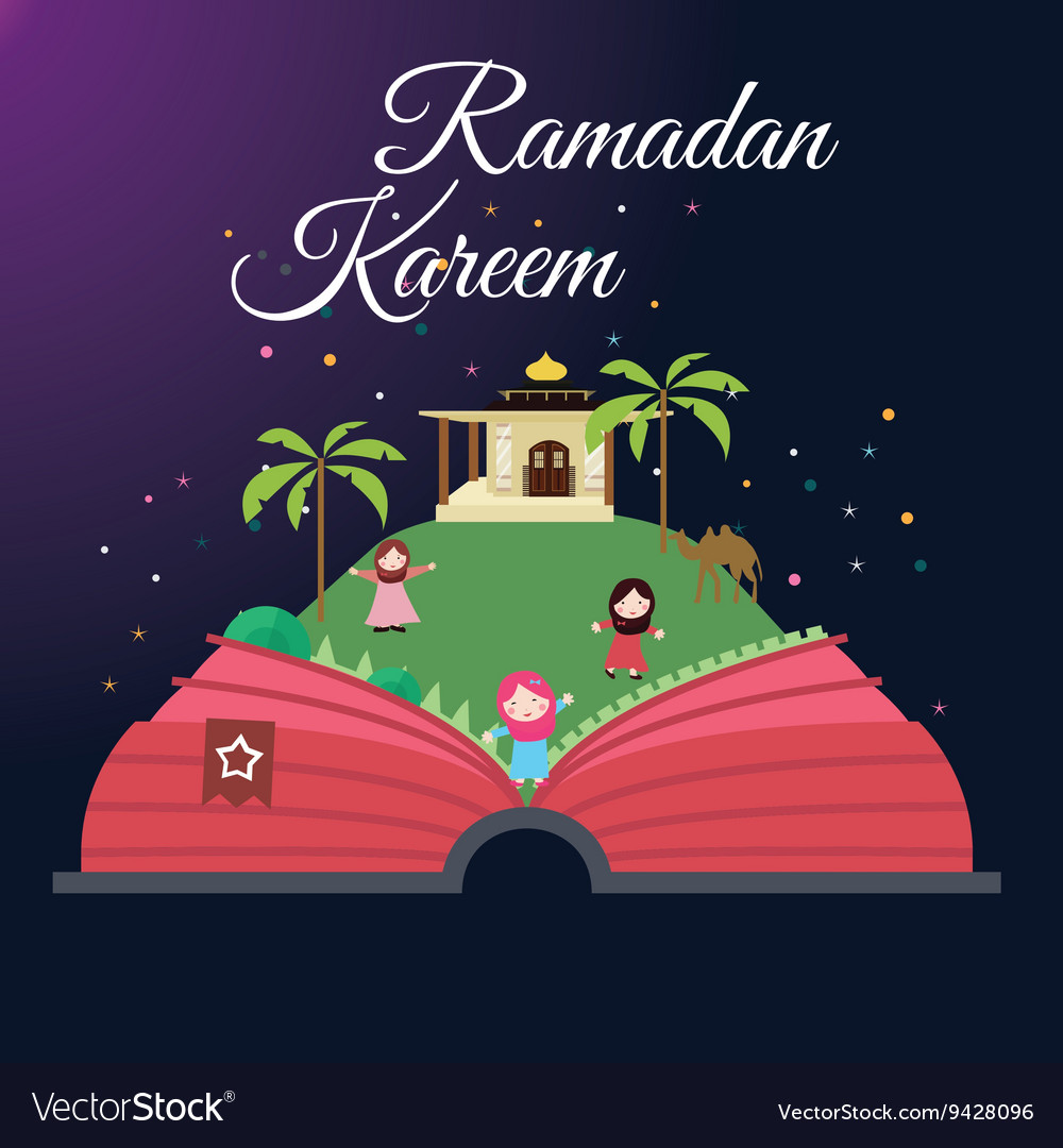 Ramadan greeting cards kids and mosque with starry vector image
